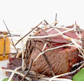 Photography recipe Roast doe fillet with salsify, red cabbage and blackcurrant