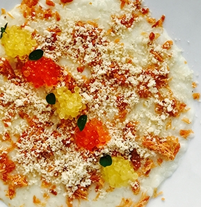 Photography recipe Ginger Risotto With Salmon Crumble, Macadamia Nuts And Eggs