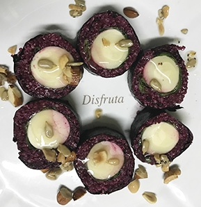 Photography recipe Quinoa Maki In Beetroot With Palmettos And Sweet & Sour Squash Seed Sauce