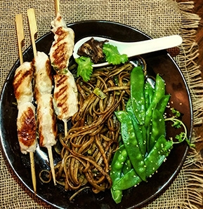 Photography recipe Chicken satay with Lo Mein
