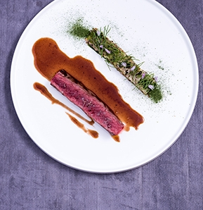 Photography recipe Venison / turnip cabbage / porcino / szechuan