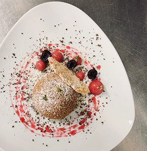 Photography recipe Crunchy Beignet, tonka bean chantilly, candied wild cherries and hazelnut Parmigiano wafer