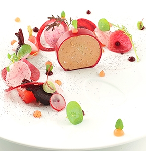 Photography recipe Foie gras mi-cuit, beet and grapefruit
