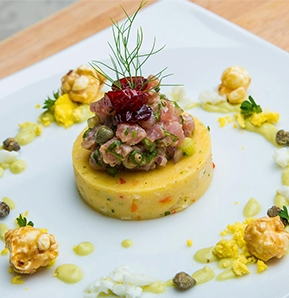 Photography recipe Tuna Tartare atop Polenta Discs with Avocado Cabralis Cream