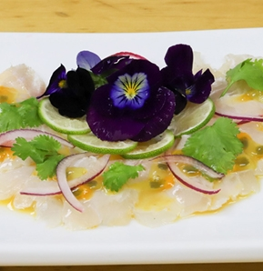 Photography recipe Sea bass tiradito (ceviche without onion) with passion fruit sauce