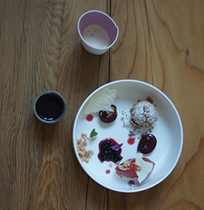 Photography recipe Curd Cheese Dumpling with Elderberries and Popped Rice