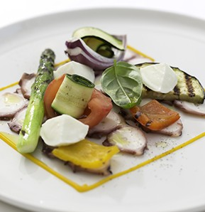 Photography recipe Octopus carpaccio with grilled vegetables; carrots mayonnaise and buffalo milk mozzarella.