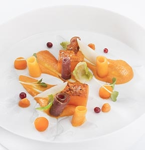 Photography recipe Cream of squashes, wild boar ham shavings and hazelnut oil