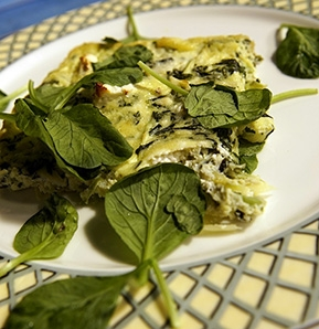 Photography recipe Omelet with zucchini and goat cheese